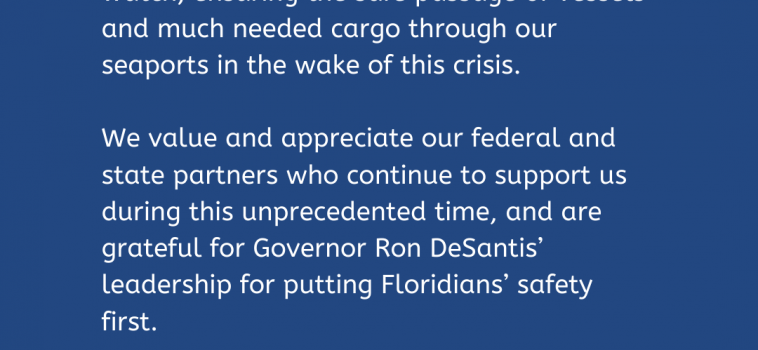 FLORIDA HARBOR PILOTS CONTINUE TO SERVE THE STATE 24/7
